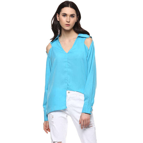 Miway Women's American Crepe Sky Blue Solid Casual Shirt - Miway Fashion