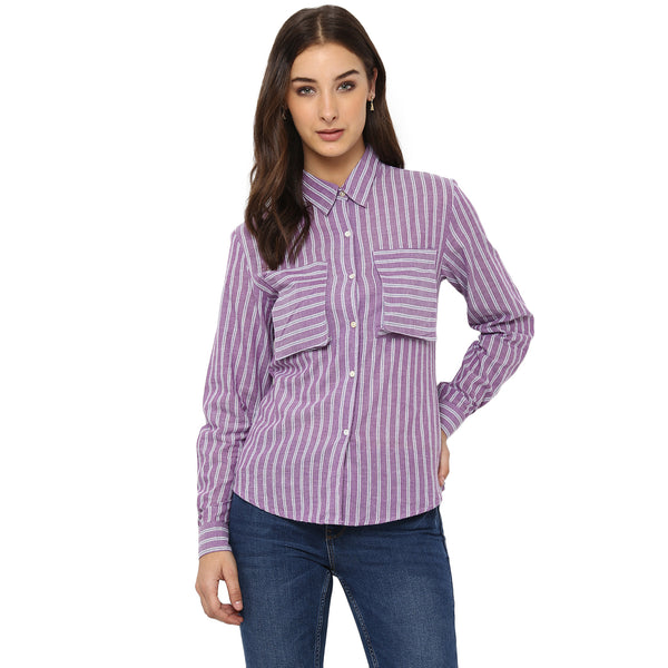 Miway Women's Cotton Light Purple Printed Casual Shirt - Miway Fashion
