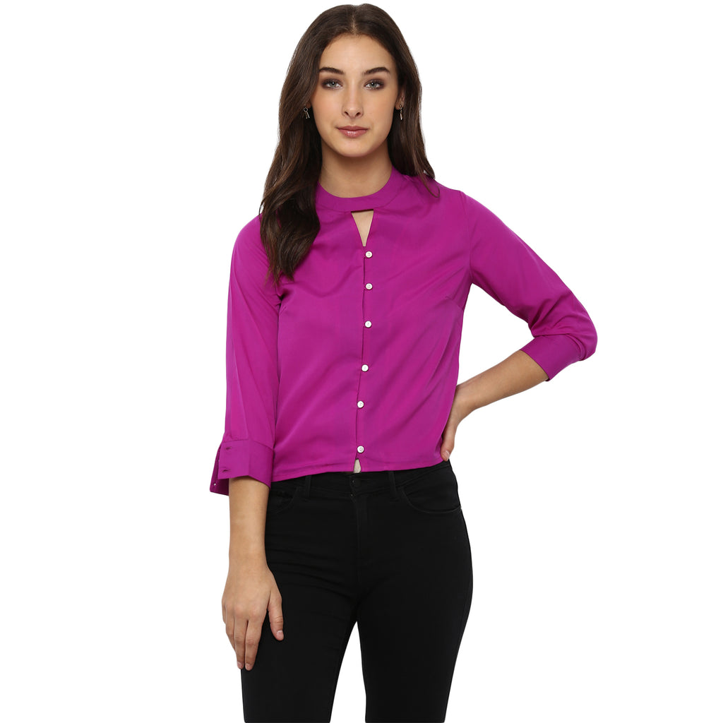 618c0ab07 Sold Out Miway Women's American Crepe Purple Solid Casual Shirt - Miway  Fashion
