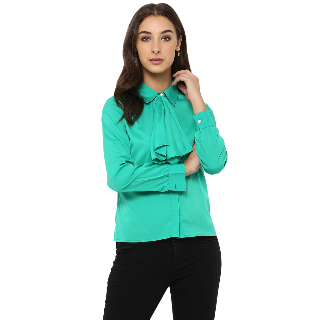 08af84685 Sold Out Miway Women's American Crepe Green Solid Casual Shirt - Miway  Fashion