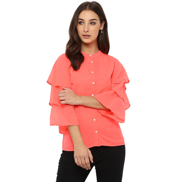 Miway Women's POLY Georgette Neon Pink Solid Casual Shirt - Miway Fashion