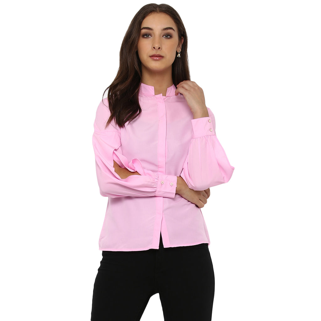 Miway Women's American Crepe Pink Solid Casual Shirt - Miway Fashion