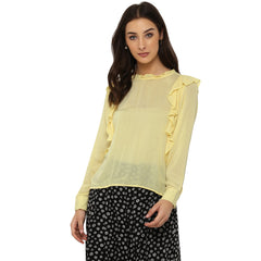 Miway Women's Rayon Crepe Yellow Solid Casual Shirt - Miway Fashion