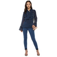 Miway Women's Poly chiffon Navy Blue Solid Casual Shirt - Miway Fashion