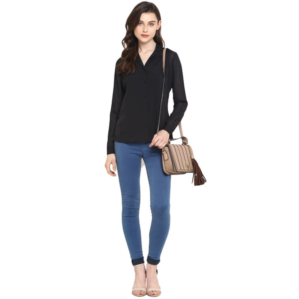 Miway Women's American Crepe Black Solid Casual Shirt