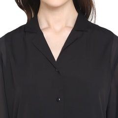 Miway Women's American Crepe Black Solid Casual Shirt - Miway Fashion