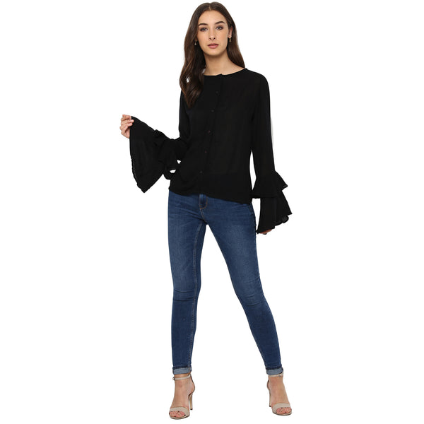 Miway Women's Rayon Crape Black Solid Casual Shirt