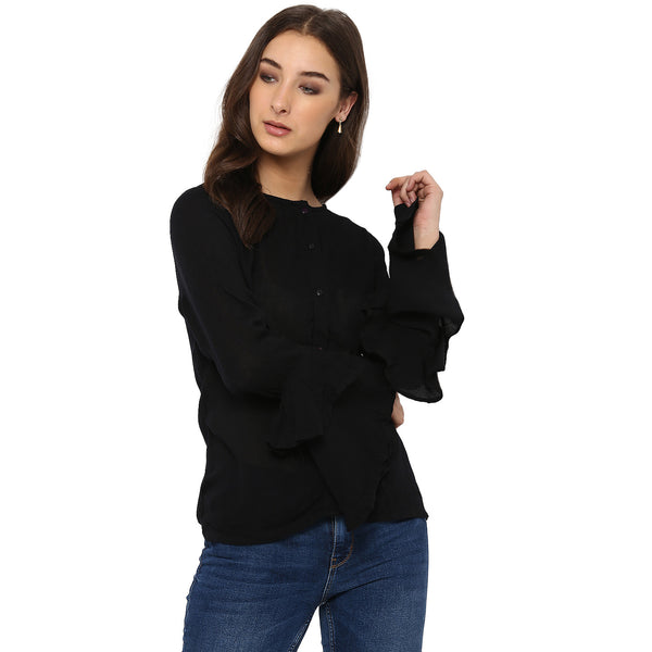 Miway Women's Rayon Crape Black Solid Casual Shirt - Miway Fashion