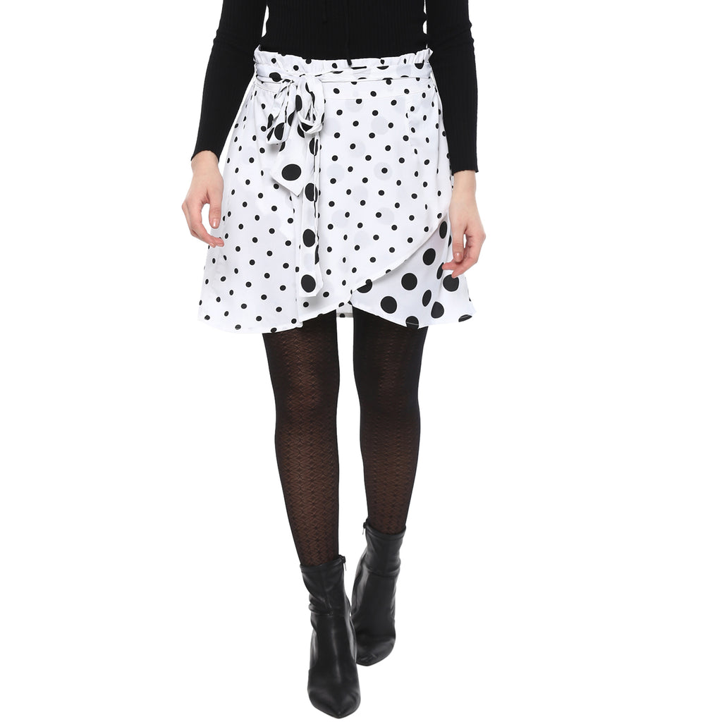 POLYESTER POLKA DOT WRAP OVER SKIRT - Miway Fashion