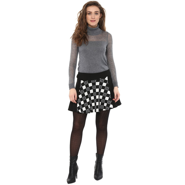 Miway Women's Polyester Stretchable Black & White Geometrical Party Wear Skirt with inside shorts