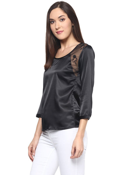 BLACK LACE INSERT SATIN TOP - Miway Fashion