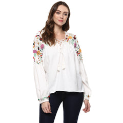 Miway Women's Cotton White Solid Top - Miway Fashion