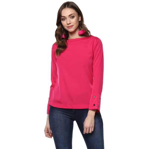 Miway Women's Polyester Pink Solid Top