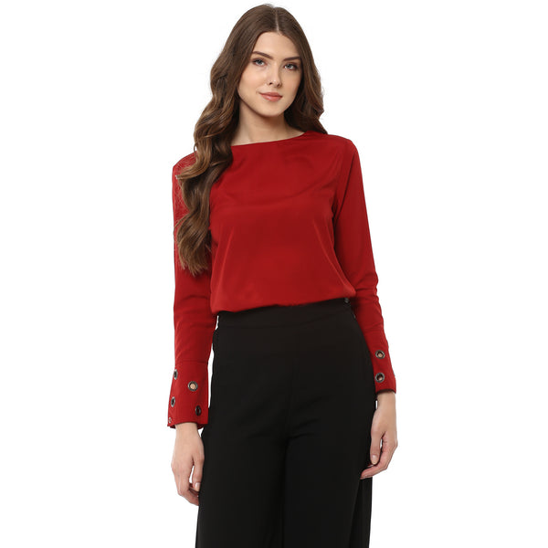 Miway Women's Polyester Maroon Solid Top