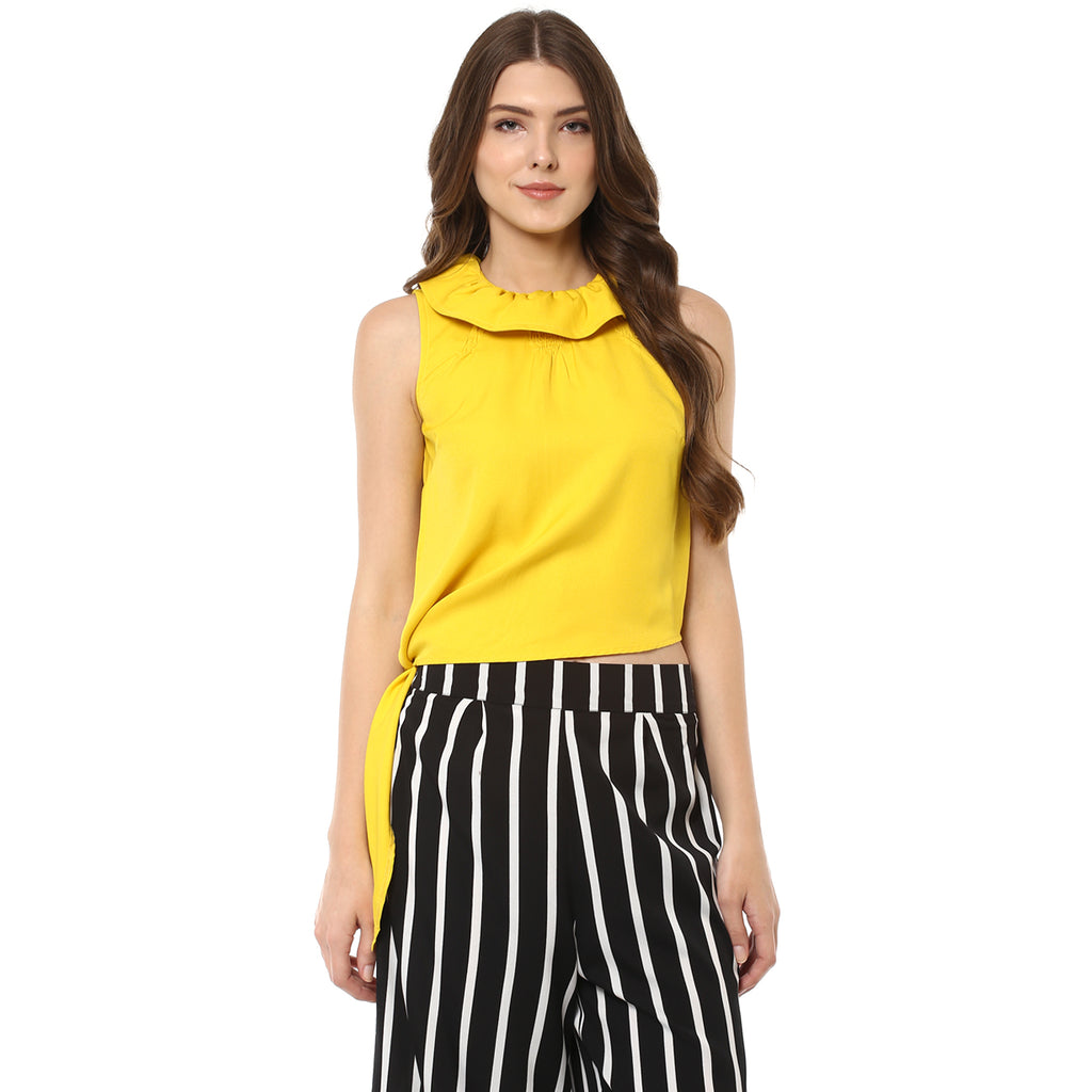 YELLOW SOLID TOP ACCESSORIZED - Miway Fashion
