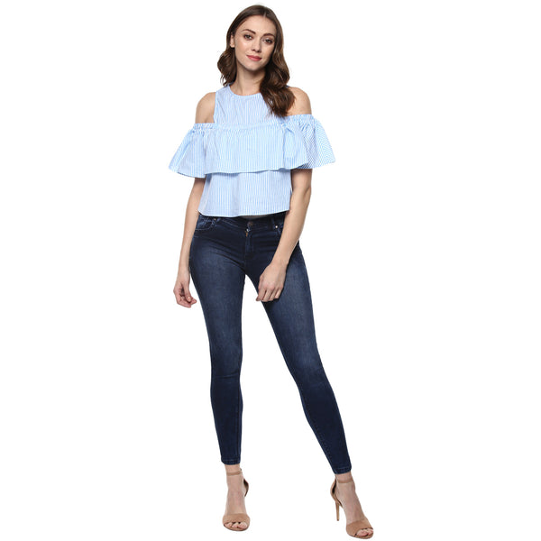 MONDAY BLUE STRIPE COLD SHOULDER TOP