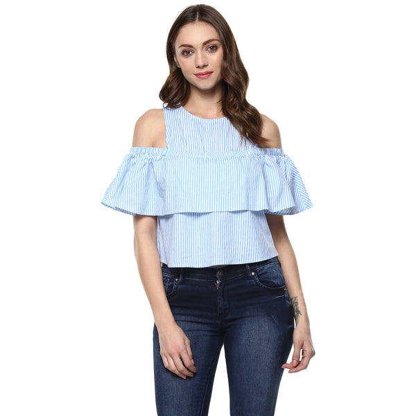 MONDAY BLUE STRIPE COLD SHOULDER TOP - Miway Fashion