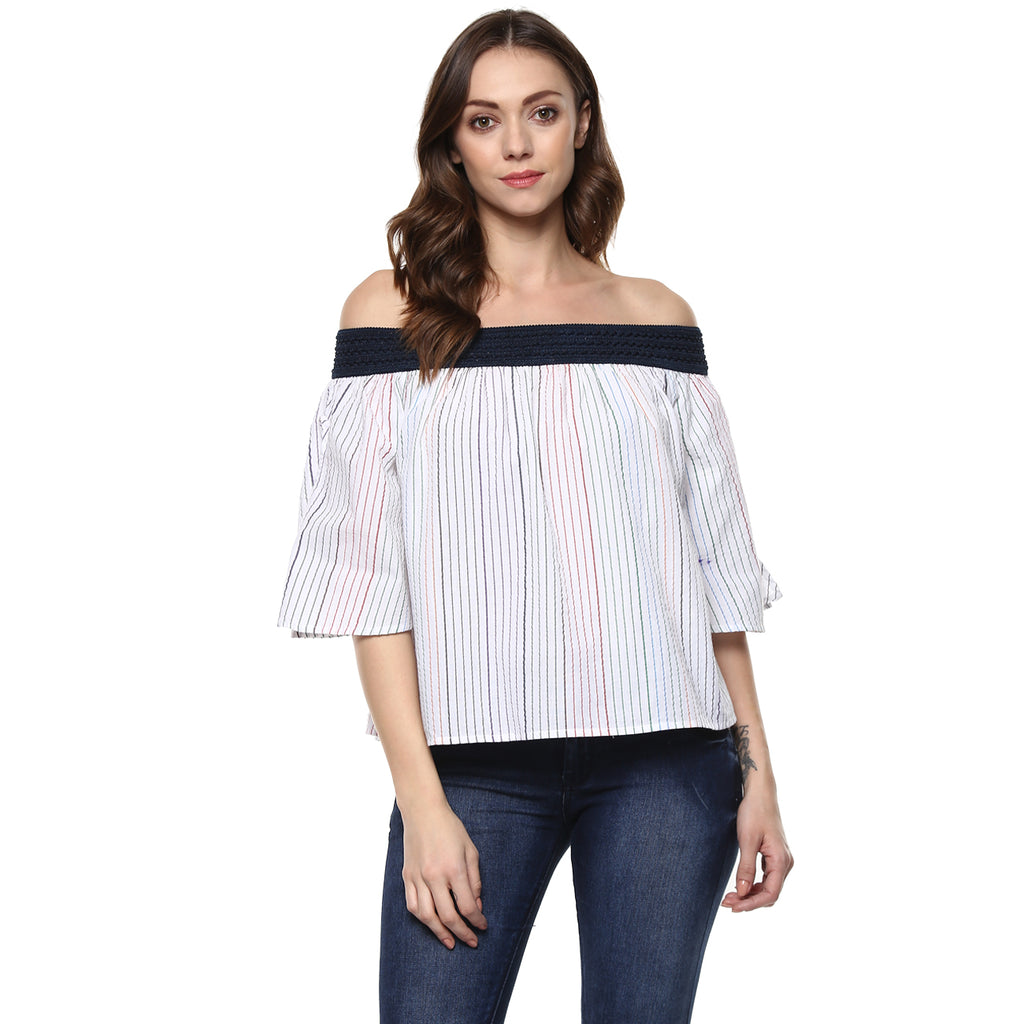 COTTON STRIPE OFF SHOULDER  TOP - Miway Fashion