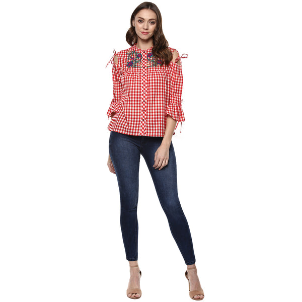Miway Women's Cotton Red Solid Top