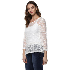 Miway Women's Polyester White Solid Top - Miway Fashion