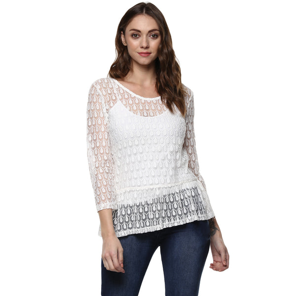 Miway Women's Polyester White Solid Top