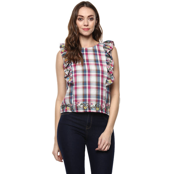 COTTON RUFFLE CHECK TOP - Miway Fashion