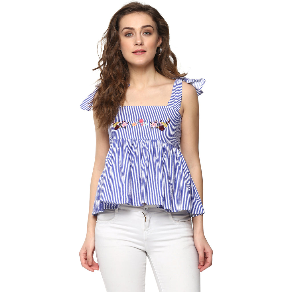 COTTON STRIPE CROP TOP WITH EMBROIDERY - Miway Fashion