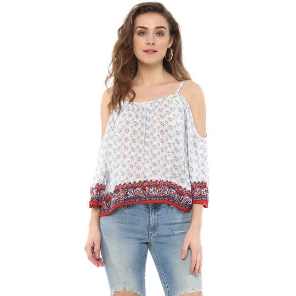 PRINTED TOP WITH COLD SHOULDER SLEEVE - Miway Fashion