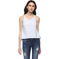 Miway Women's Cotton White Stripe Casual Top - Miway Fashion