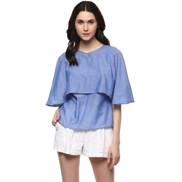 bf2cd1f5a50 Miway Women s Cotton Blue Solid Casual Top - Miway Fashion ...