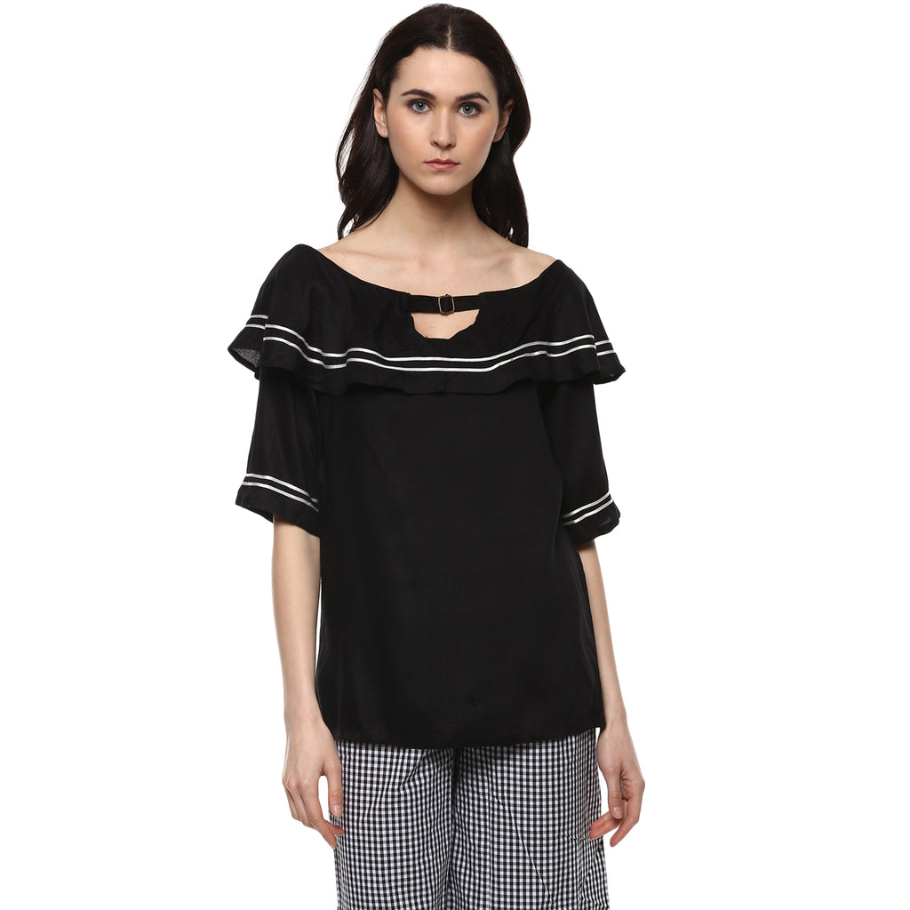 Miway Women's Rayon Black Solid Casual Top - Miway Fashion