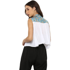 Miway Women's Rayon Crepe White Solid Casual Top - Miway Fashion