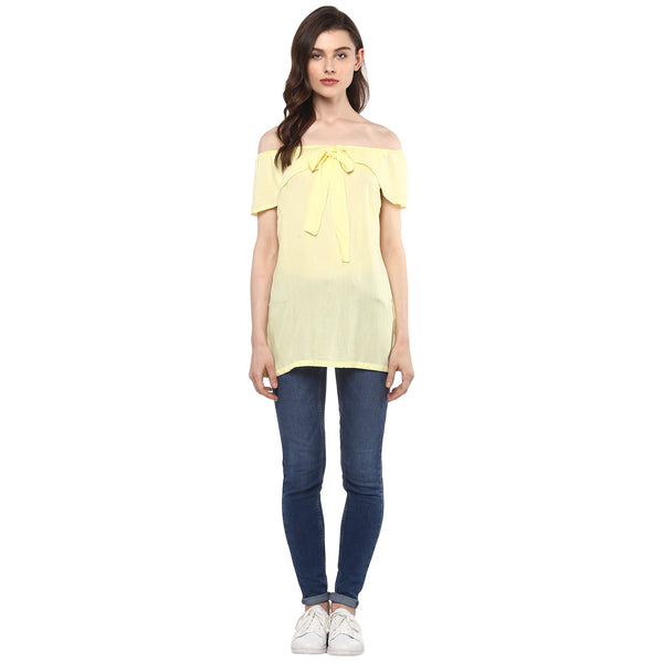 Miway Women's Rayon Yellow Solid Casual Top