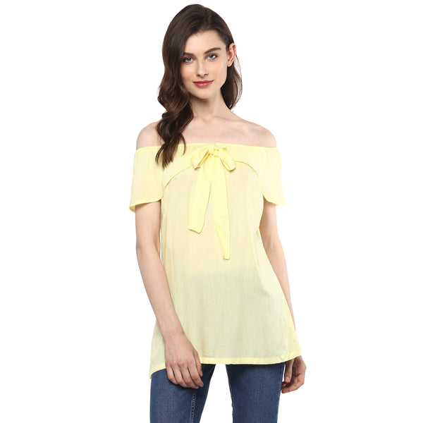 Miway Women's Rayon Yellow Solid Casual Top - Miway Fashion