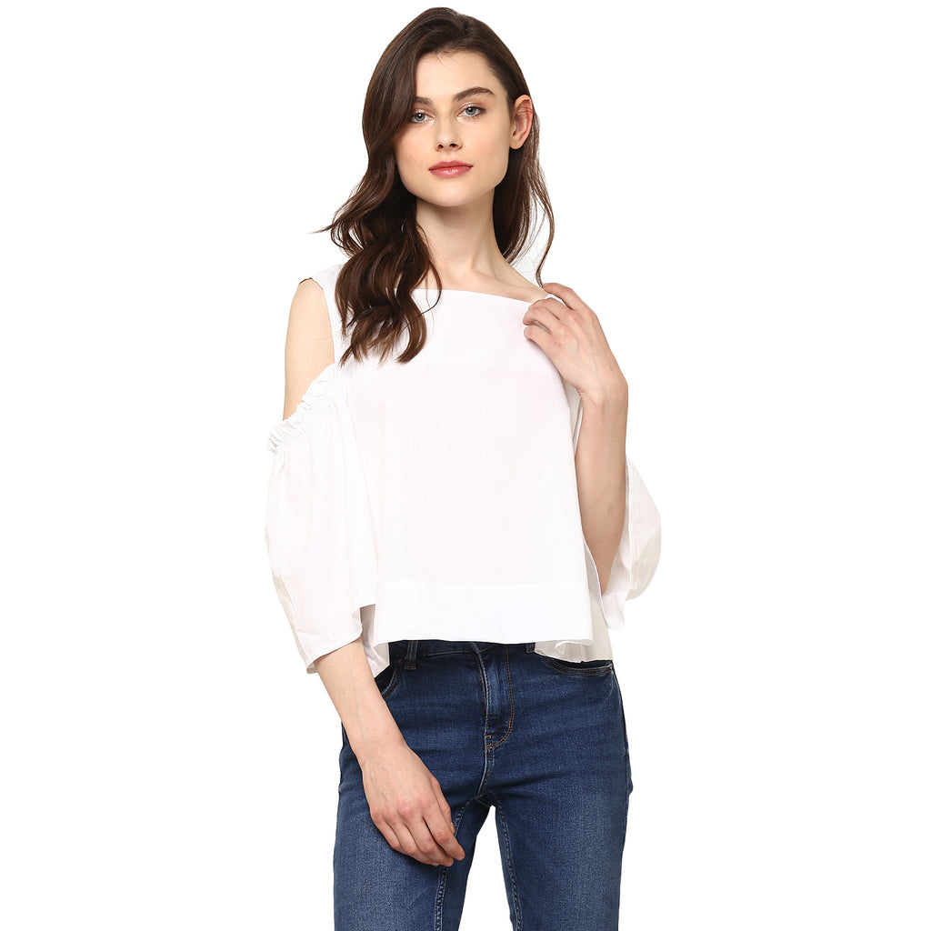 Miway Women's Cotton White Solid Casual Top - Miway Fashion