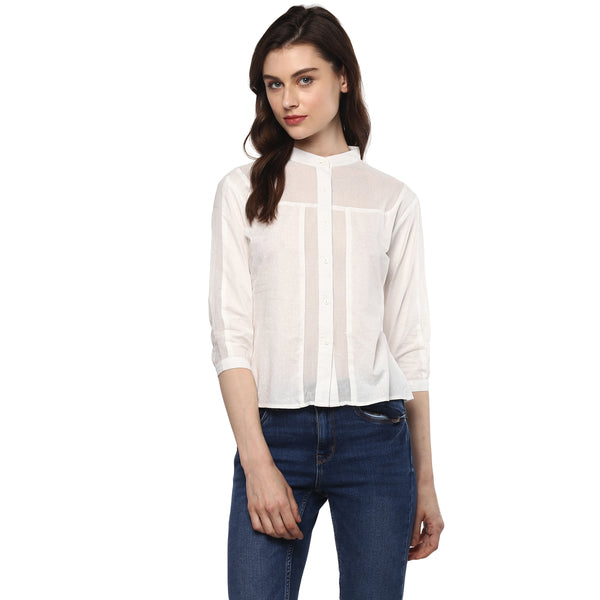 Miway Women's Cotton White Solid Casual Top
