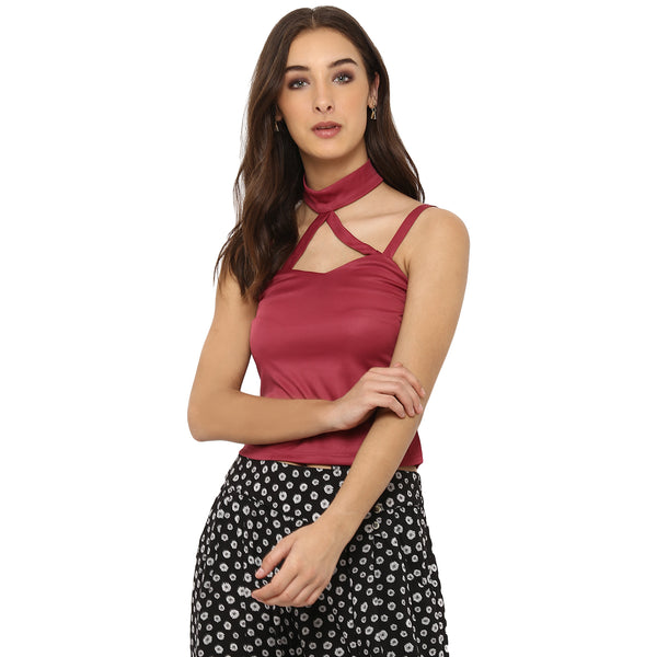 Miway Women's polyknit Pink Solid Casual Top - Miway Fashion