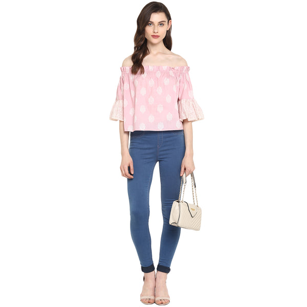Miway Women's Cotton Pink Printed Casual Top