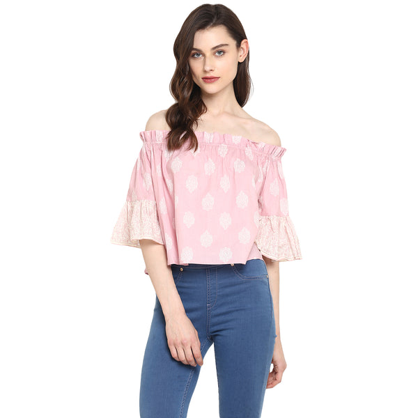 Miway Women's Cotton Pink Printed Casual Top - Miway Fashion