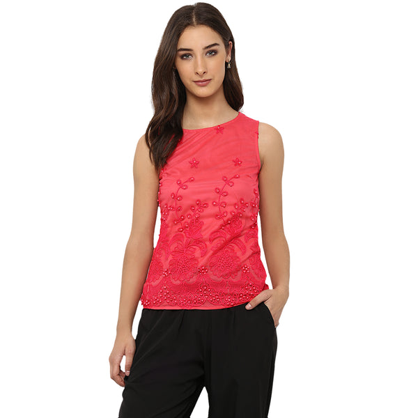 Miway Women's NYLON  NET Pink Solid Casual Top - Miway Fashion