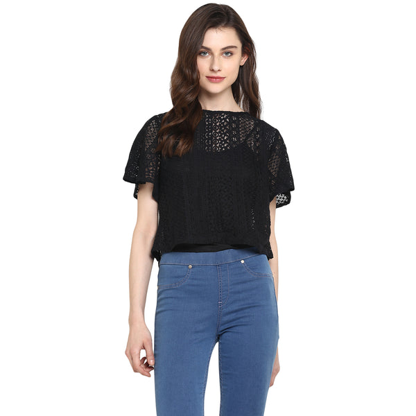 Miway Women's Viscose Net  Black Solid Casual Top - Miway Fashion