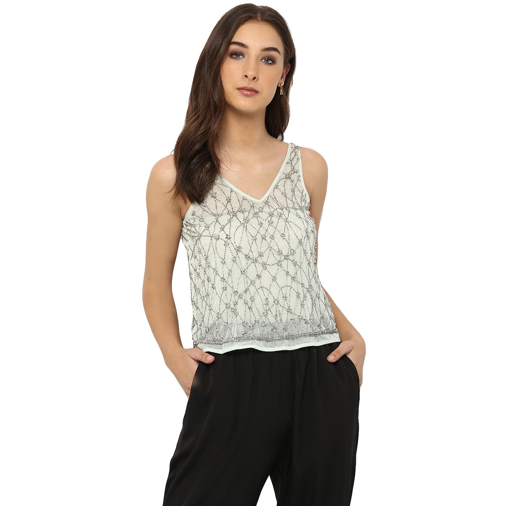 Miway Women's NYLON  NET Green Solid Casual Top - Miway Fashion