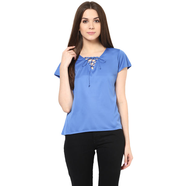 BLUE LACE UP TOP - Miway Fashion