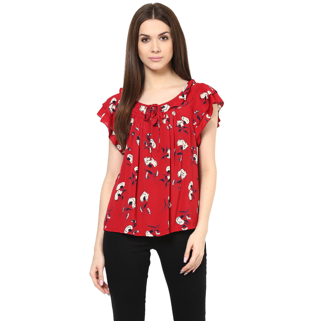 CHERRY FLORAL TOP - Miway Fashion