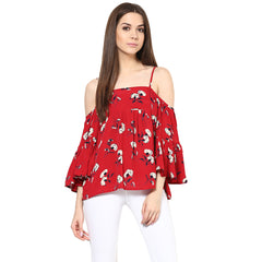 WOMEN WINE FLORAL COLD SHOULDER TOP - Miway Fashion