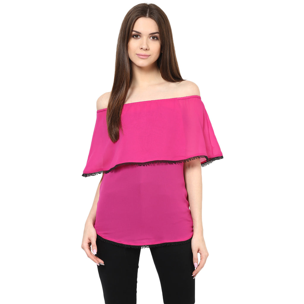 THINK PINK OFF SHOULDER TOP - Miway Fashion