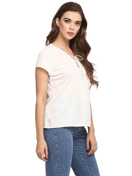 LACE UP NECK SNUG FIT TOP - Miway Fashion