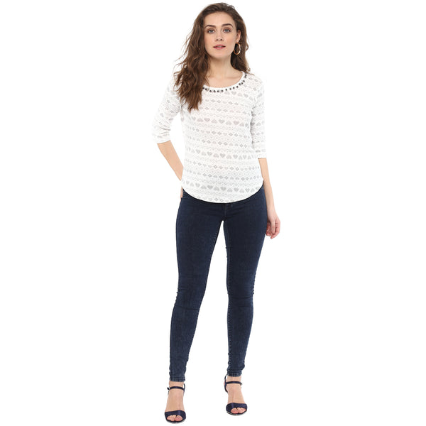 Miway women jacquard knit t shirt with pearls at neck