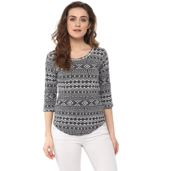 Miway women jacquard knit t shirt with bells at neck