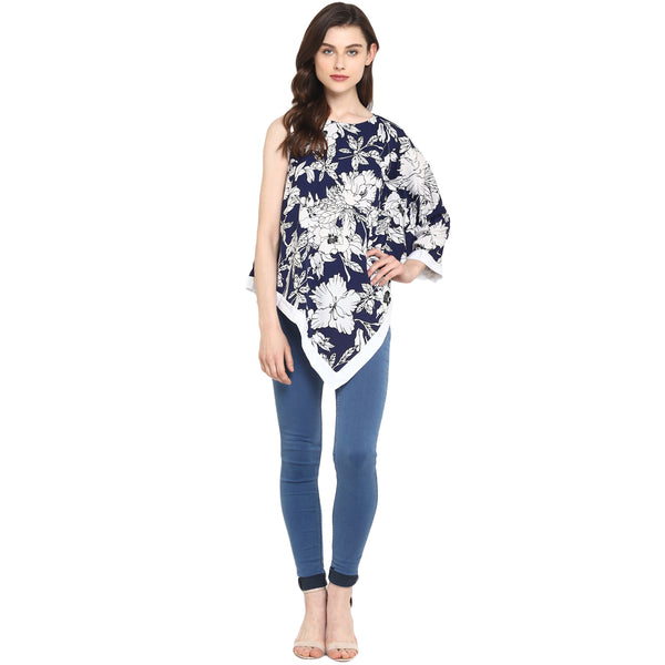 Miway Women's American Crepe blue & white Printed Casual Tunic